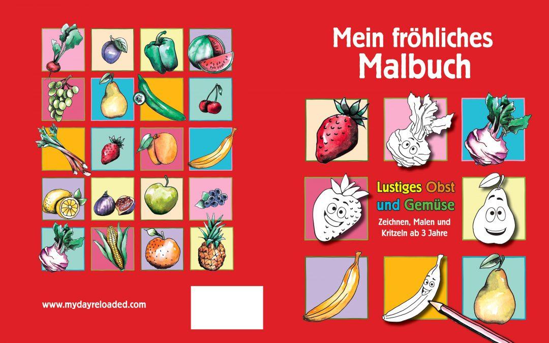 Unser Malbuch – Obst und Gemüse mit lustigen Augen!